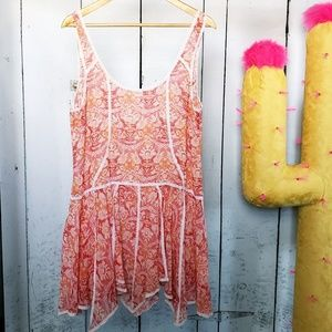 Free People Sheer Peach Floral Trapeze Slip, Sz L